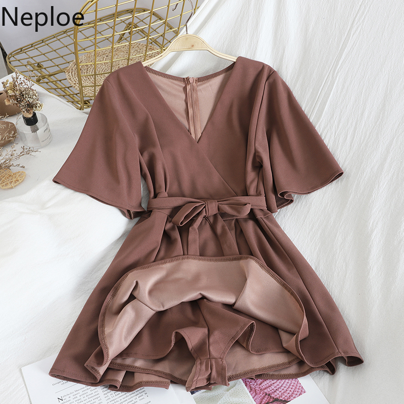 Neploe 2020 Solid V Neck Women Jumpsuit Fashion Korean Short Sleeve Lace Up Playsuit Casual High Waist Wide Leg Bodysuit 81272