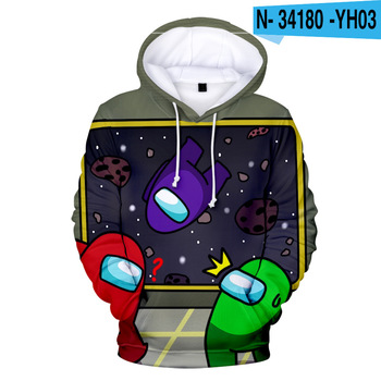 New Autumn Winter Tops Funny Print Among Us Hoodie Cartoon 3D Printed Pullover Sweatshirt Adult Harajuku Anime Pullover 16