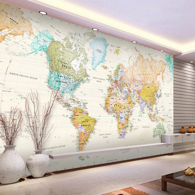 3D Wallpaper Modern Retro World Map Photo Wall Murals Kid's Bedroom Study Library Wall Sticker PVC Self-Adhesive 3D Easy Operate