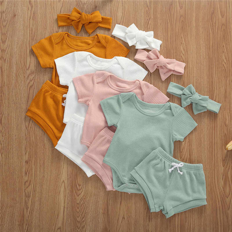 Toddler Baby Summer Clothing Infant Newborn Baby Boys Girls O-neck Ribbed Knitted Bodysuit Tops Shorts Headband 3Pcs Outfits Set