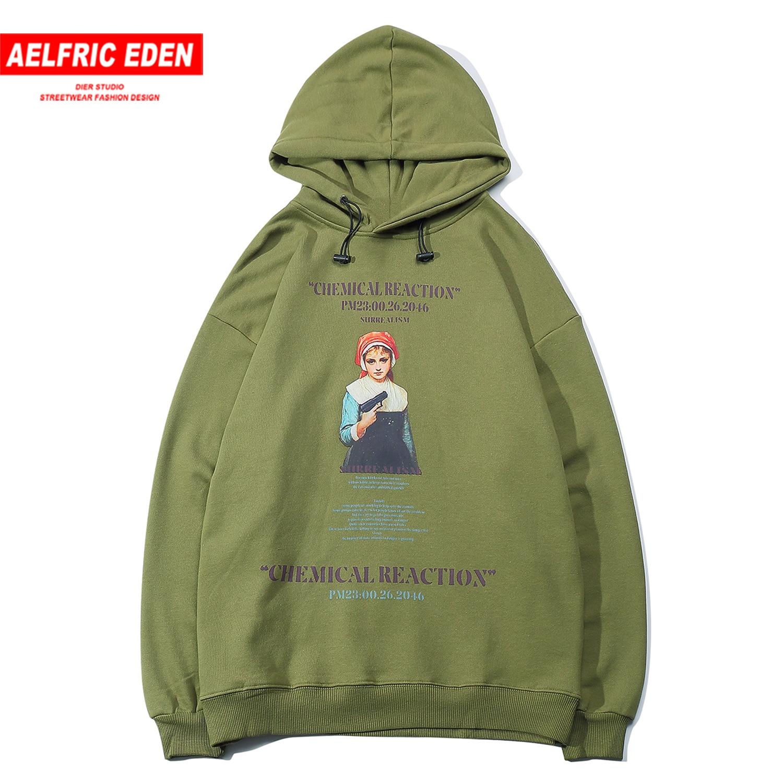 Aelfric Eden Gun Girl Print Men Hoodies Streetwear Harajuku Hip Hop Pullover Outwear Casual Cotton Oversized Hooded Sweatshirts