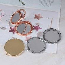 Espelho dobrável portátil de aço inoxidável, maquiagem metálica, acessório de beleza, 1 peça