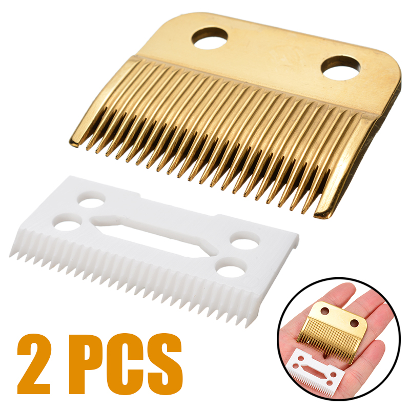2pcs/Set Durable And Practical Hair Beard Ceramic Blade Cutter + Metal Bottom Set For Andis Wahl Shear Clipper|Knives| |  -