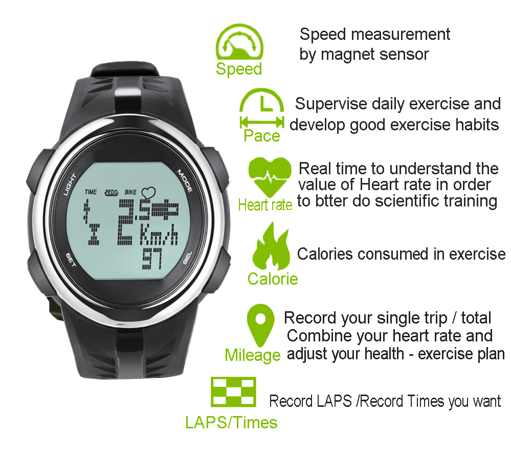 Bike Speed watch Bicycle computer wireless speedometer Riding runing Heart rate monitoring calorie 3D sensor step|  - title=