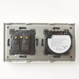 Image 3 - Franse Stopcontact Lichtschakelaar 1/2/3 Gang Met 1 Manier Elektrische Stopcontacten Crystal Glass Touch Panel 16A frankrijk Rechthoekige