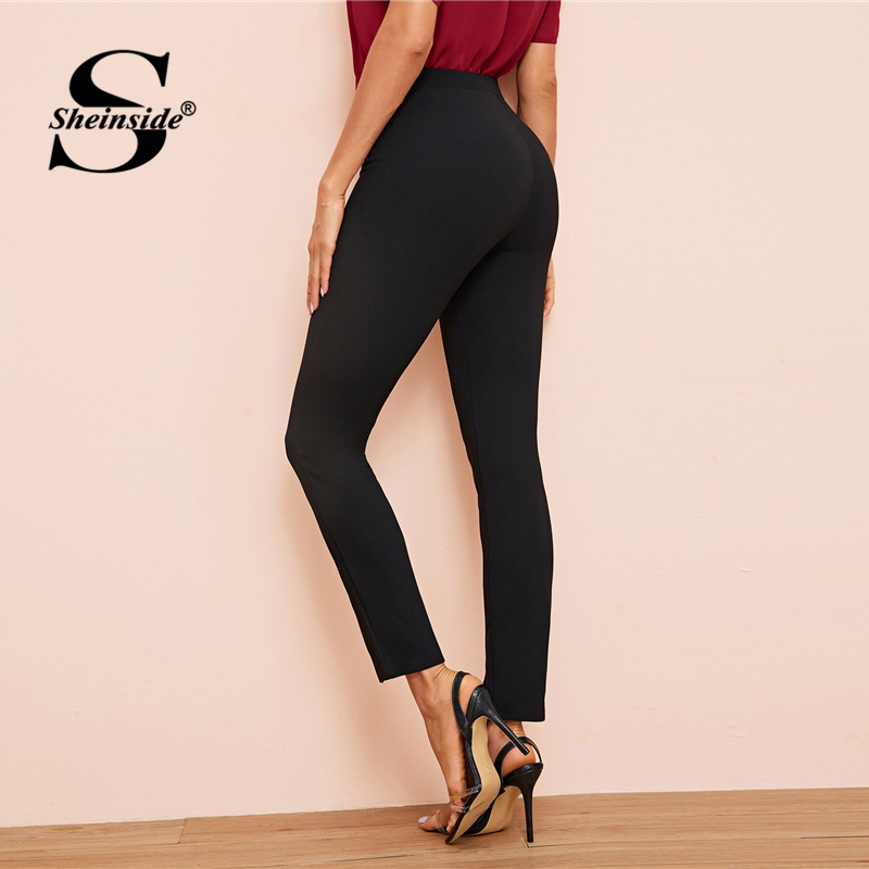 Image 2 - Sheinside Black Elegant High Waist Skinny Pants Women 2019 Autumn Elastic Waist Crop Trousers Office Ladies Split Hem Pants-in Pants & Capris from Women's Clothing
