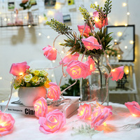 Tira de luces festivas LED de Navidad con rosas, funciona con pilas por USB, decoración para fiesta de boda, San Valentín, 10/40