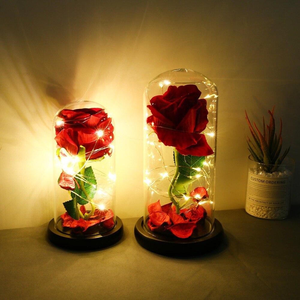 Eternal Flower Glass Cover Beauty And Beast Eternal Flower Rose In Flask 8