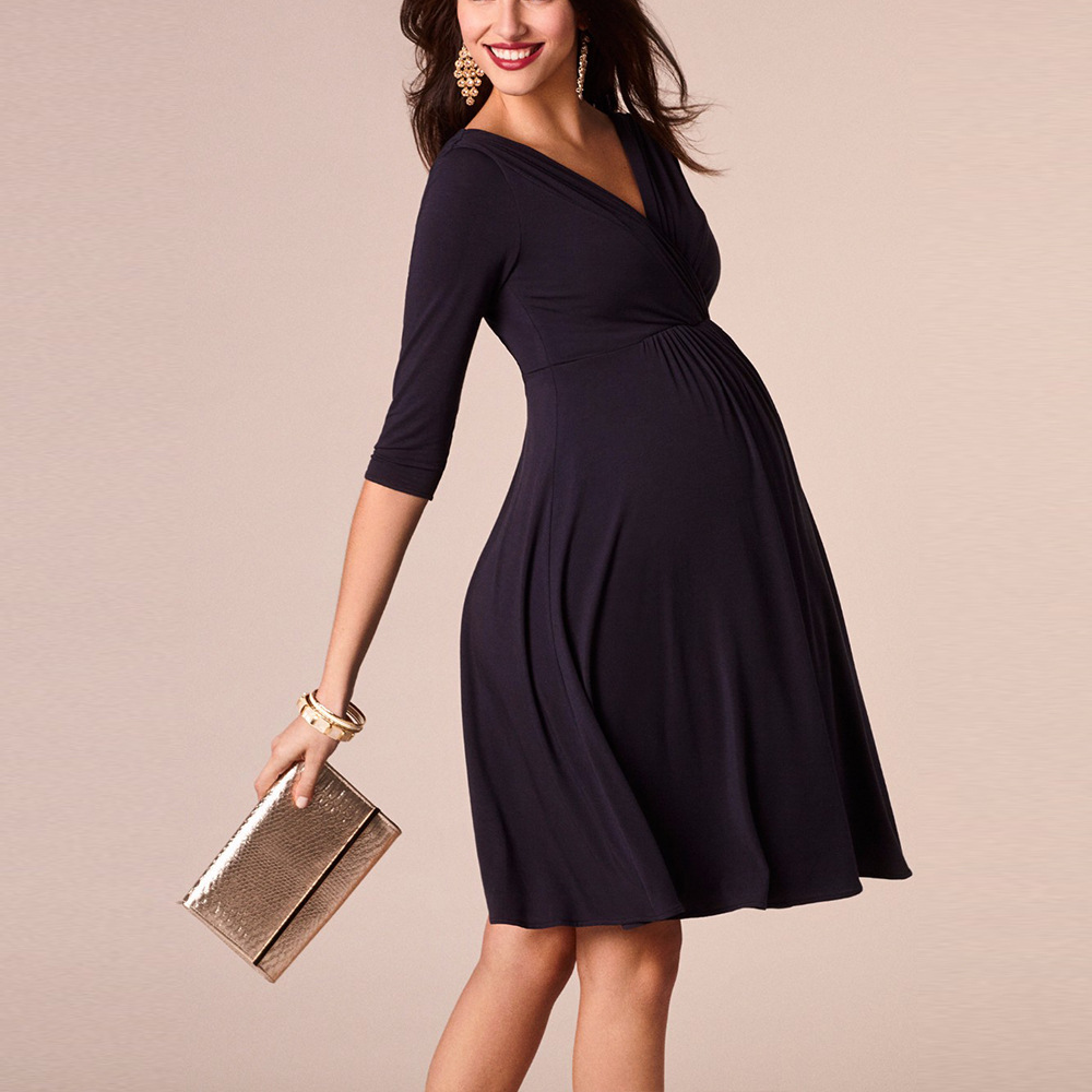 Image 4 - Vestidos de lactancia materna ropa de maternidad para mujeres embarazadas ropa sólida con cuello en V vestidos de embarazo vestido de noche para madresVestidos   -