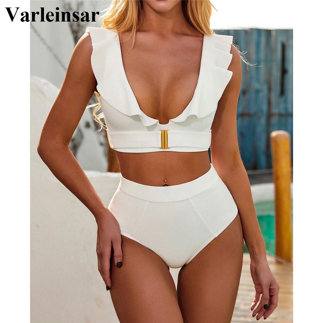 Kadın mayo yüksek bel Bikini 2020 Ruffled beyaz kadın mayo iki parçalı Bikini seti yüksek bel Bather mayo V2279