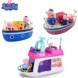 Image 1 - חדש פפה חזיר שיט ג ורג דגם ורוד חזיר משפחה סבא פעולה דמות מצוירת צעצוע אמבטיה סט ילדים הטוב ביותר צעצוע מתנה