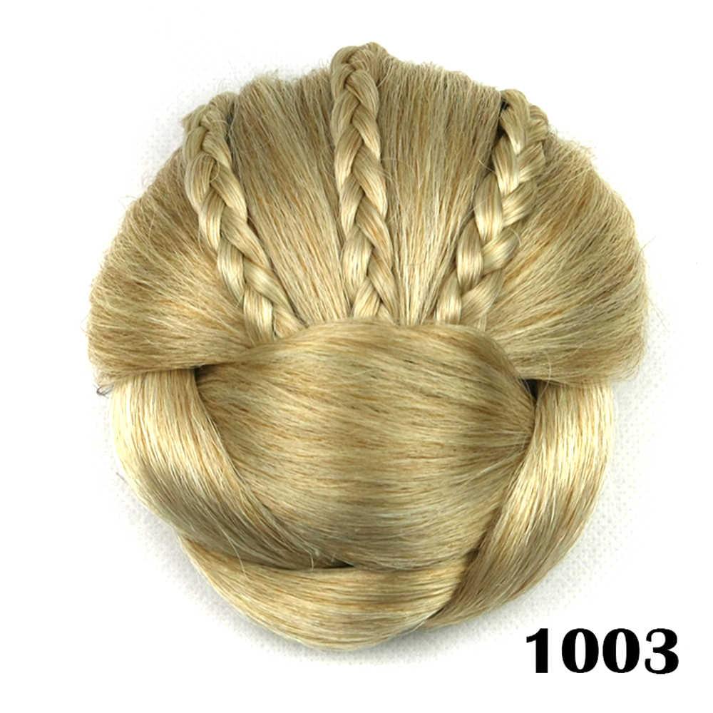 Soowee 6 цветов синтетические волосы плетеный шиньон с зажимом в пучке волос пончик ролики аксессуары для женщин