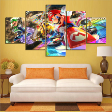 Wall Art Poster Modular Pictures Canvas 5 Pieces Mario Kart Cartoon Game Paintings Frameworks Decor For Living Room HD Prints