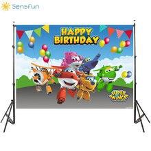 Sensfun Thin Vinyl Happy Birthday Super Wings Custom Photo Background Baby Shower Backdrop Photography Studio Supplies 7x5FT