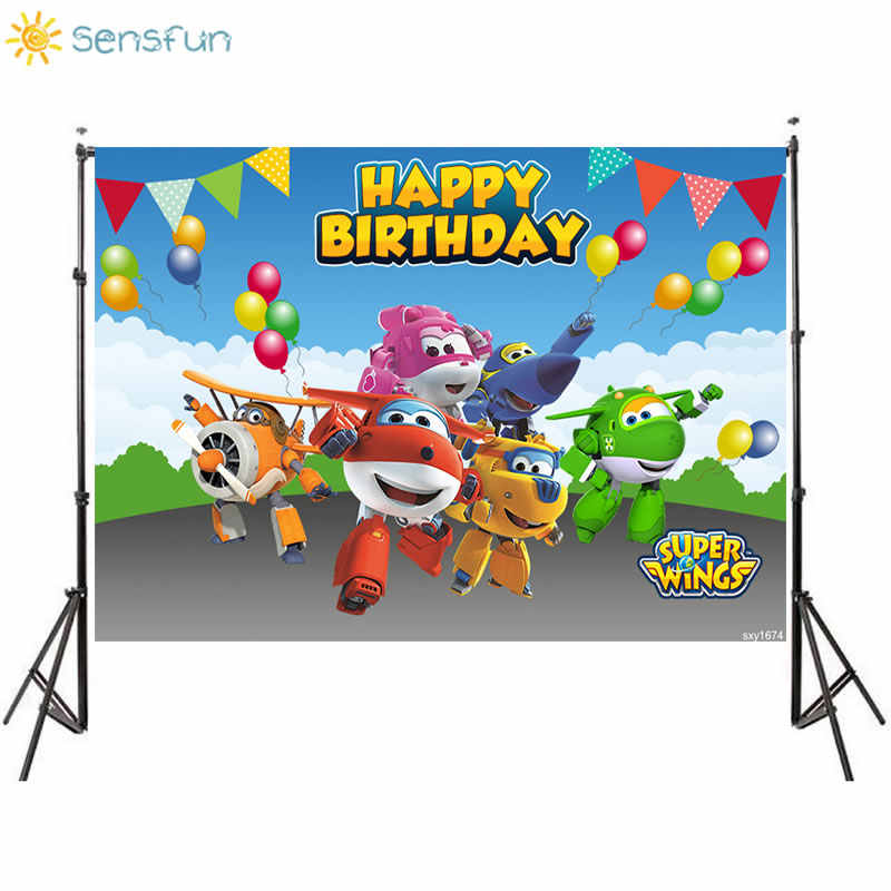 Super Wings Backdrop Baby Shower Kids Boys Happy Birthday Decoration Dessert Photography Table Baby Shower Supplies Photo Background Banner Supplies