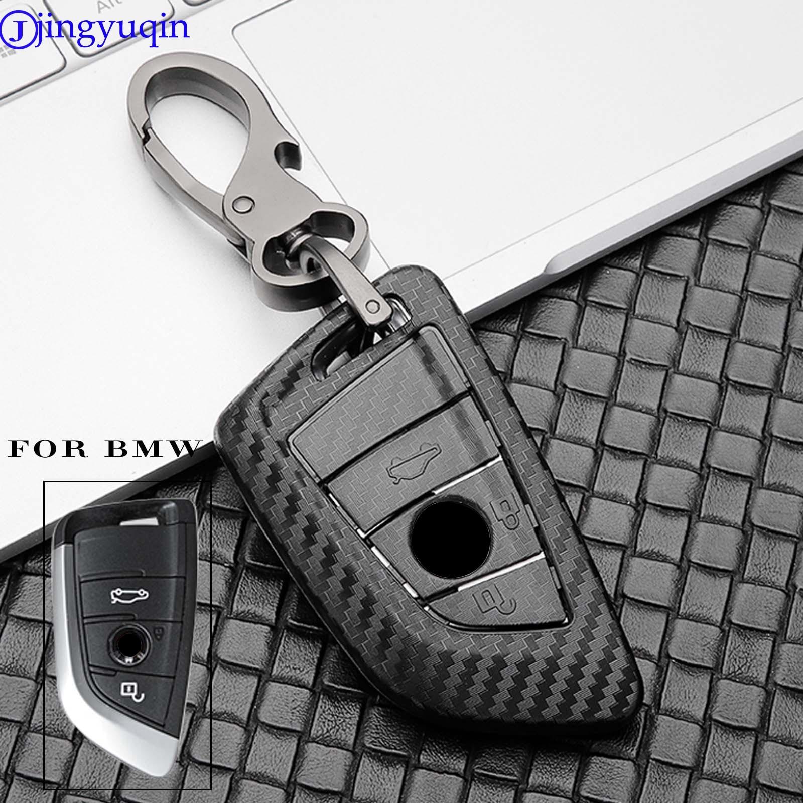 jingyuqin Carbon Fiber Car Key Case Shell For BMW X5 F15 X6 F16 G30 7 1 2 5 Series G11 X1 X5 F48 218i