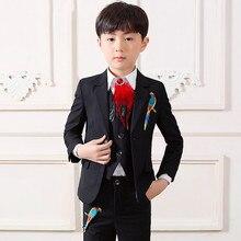цены Blue White Black Toddler Teenager Boys Suits Wedding Formal Children Suit Tuxedo Dress Party Terno Infantil Menino