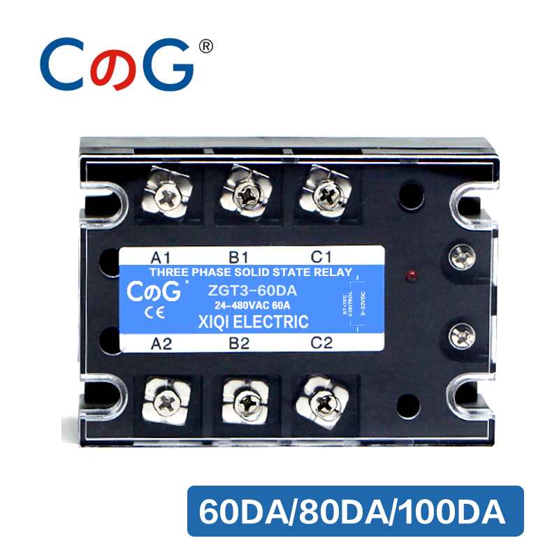 CG 3 Phase 60A 80A 100A DA Three Phase <font><b>SSR</b></font> 3-32V DC Control 24-480V AC Solid State Relay <font><b>SSR</b></font> DC To AC Relay image
