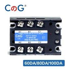 CG 3 fazlı 60A 80A 100A DA üç fazlı SSR 3 32V DC kontrol 24 480V AC katı hal röle SSR DC AC röle
