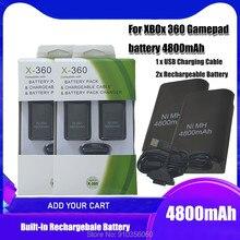 Аккумуляторная батарея 4800 мАч для Microsoft Xbox 360, беспроводной контроллер, никель-металлогидридные аккумуляторы для XBOX 360, геймпад с зарядным ус...