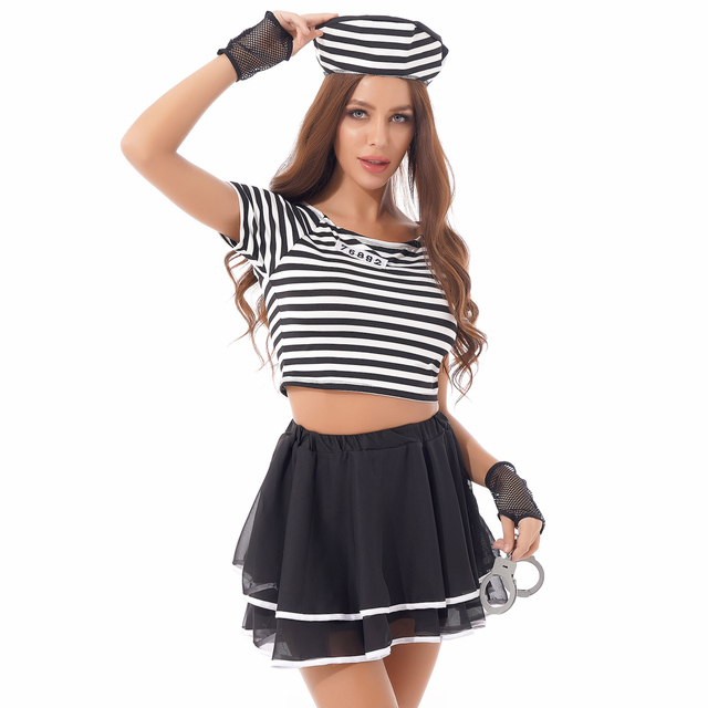 Sexy Halloween Prisoner Role Play Costume + Hand Cuffs 6