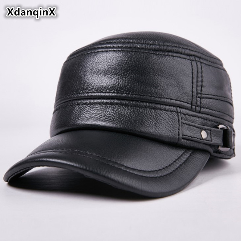 XdanqinX Genuine Leather Hat Autumn Men's Cowhide Flat Cap Army Military Hats Adjustable Middle-aged Classic Warm Earmuffs Caps