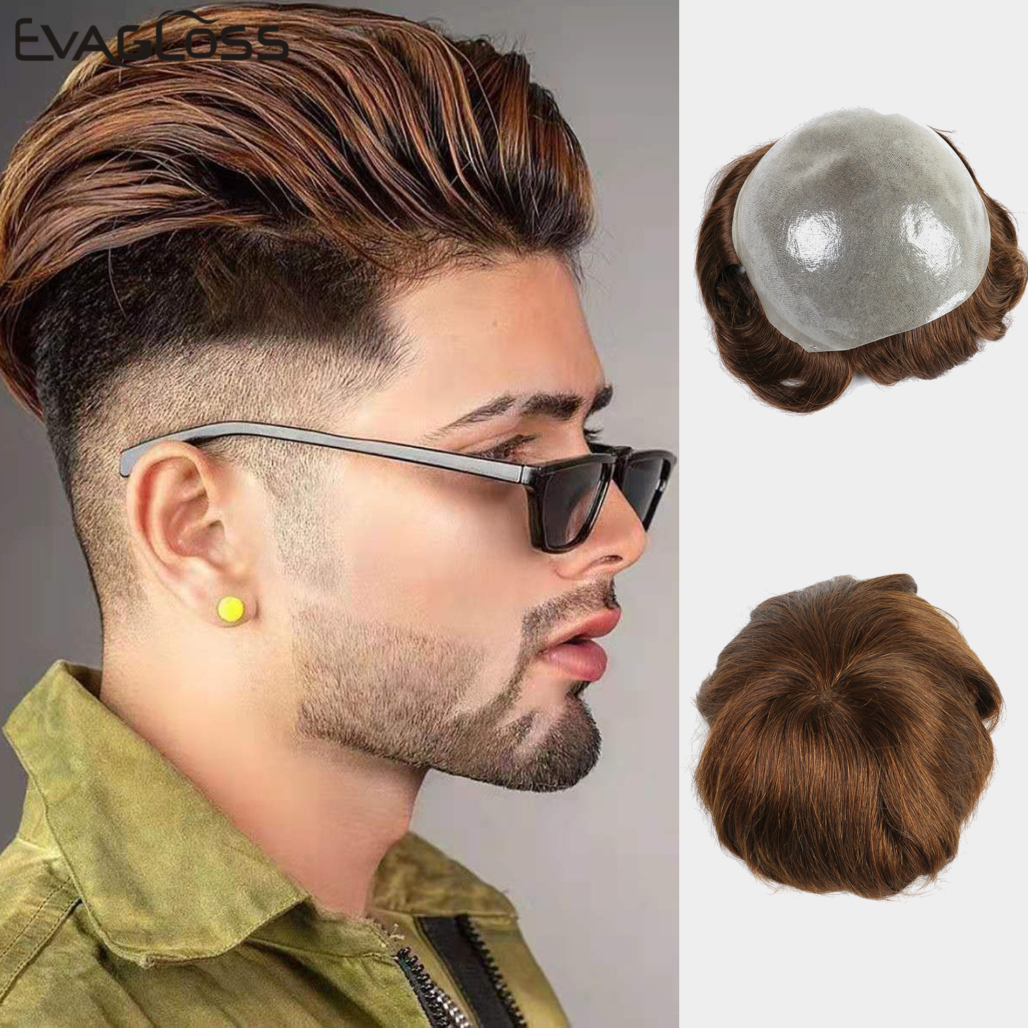 EVAGLOSS 0.12-0.14mm Durable Skin India Human Hair Men Wig V Loop Replacement Hair Pieces System Men's Toupee