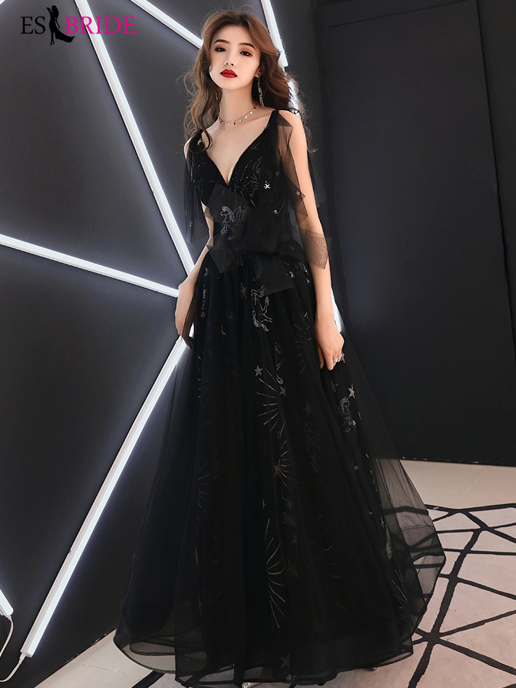 Tulle Lace Evening Dresses 2019 ES2816-1 V-Neck Sleeveless A Line Sexy Party Gowns For Women Vestido Largo Fiesta