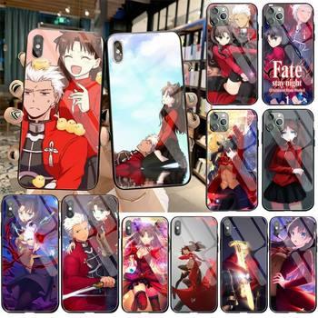 El destino noche estancia Rin Tohsaka y Archer teléfono cubierta de vidrio templado para iPhone 11 Pro XR XS MAX 8X7 6S 6 Plus SE caso De 2020