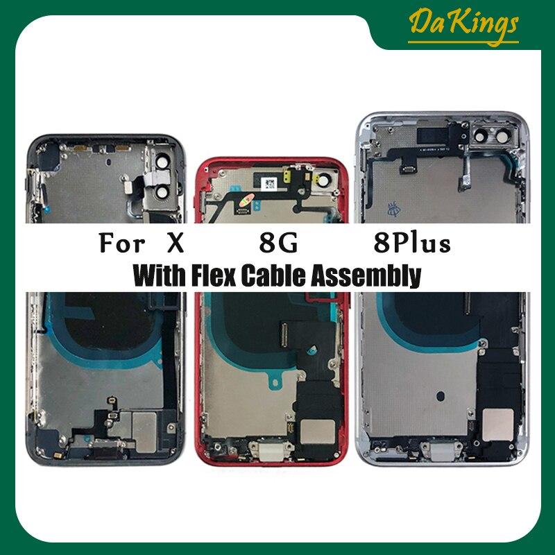 Alloggiamento posteriore completo per IPhone 8 8G 8Plus X telaio centrale telaio batteria sportello coperchio posteriore corpo con cavo flessibile assemblaggio parti CE US