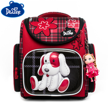 Delune Cartoon School Backpack for Girls Bookbag Dog Printing Children Orthopedic Mochila Primary Bags