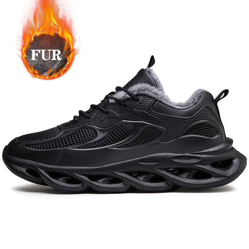 Men Sneakers Fashion Warm Winter Shoes For Men Leather Casual Shoes Male Black Outdoor Walking Footwear Flats Man Big Size 39-48