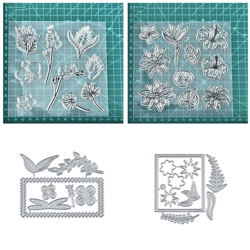 Naifumodo New 2019 Flower Metal Cutting Dies and stamps for DIY Scrapbooking Leaves Clear Stamp Cuts Set