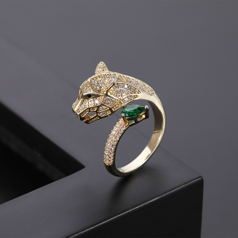 Fashion personality leopard head design gold zircon wedding ring men and women open ring fashion jewelry wholesale