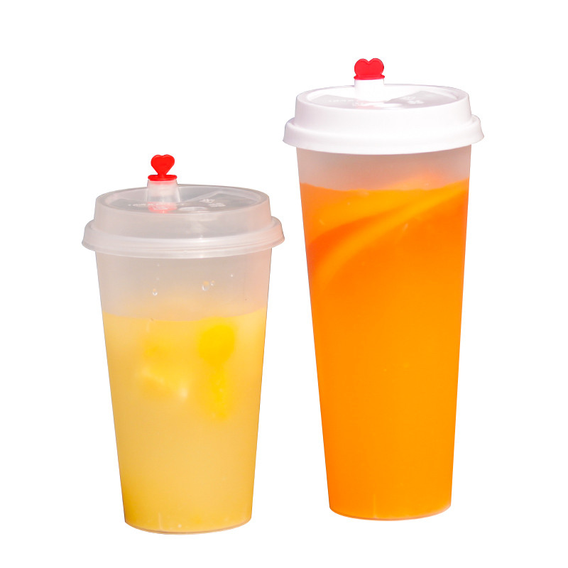 50pcs High quality disposable coffee cup 500ml 700ml frosted transparent thicken milk tea juice cold drink plastic cups with lid