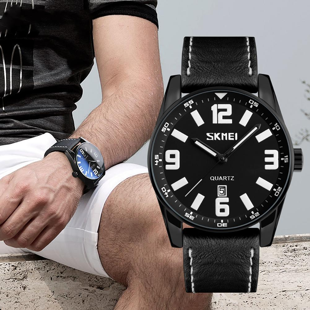 Business Men Faux Leather Band Round Dial Waterproof Quartz Wrist Watch Gift Mas-culino Fashion Men's Watch Large Dial Militarys