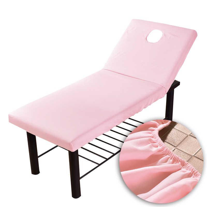 Cama de mesa de masaje de Color puro sábana ajustada cubierta completa elástica banda de goma masaje SPA tratamiento cama cubierta con respiración facial agujero