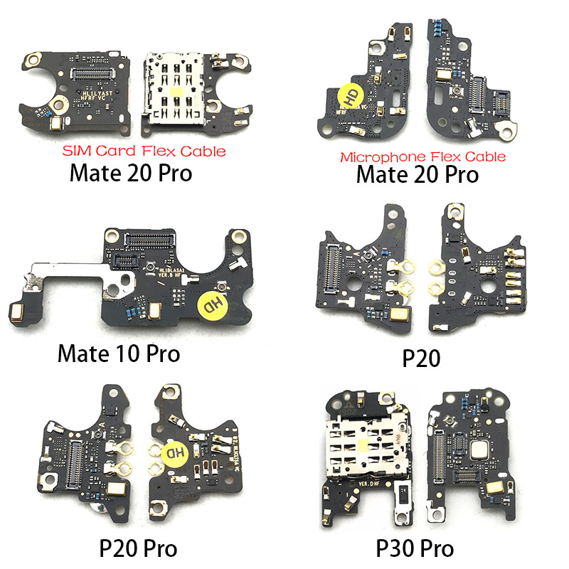1Pcs SIM Slot Socket Holder Connector Card Reader Board Flex Cable + Microphone Flex Cable For Huawei Mate 10 20 P20 P30 Pro