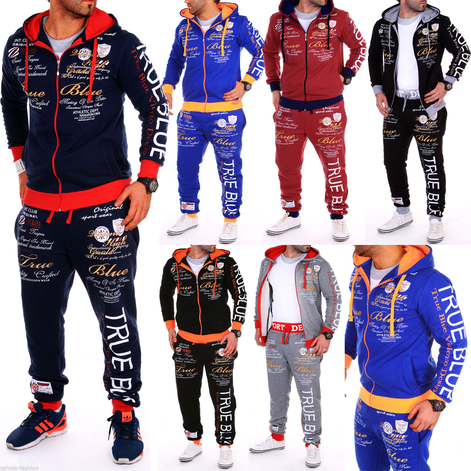 ZOGAA Men Sporting Suit Track Sets Hoodies+Pant Sweatsuit 2 Piece Clothing Set Sport Wear Hoodies Men Tracksuit Set Male