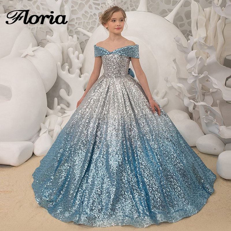Unique Mix Color Ball Gown   Flower     Girl     Dresses   2019 New Vestido Deminha First Communion   Dress   For   Girls   Sequins Off the Shoulder