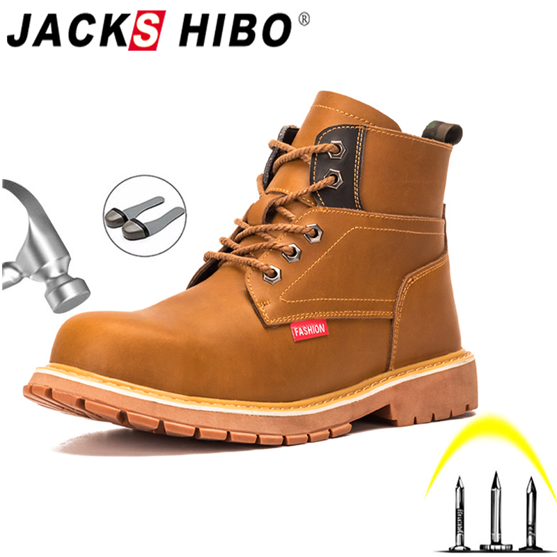 JACKSHIBO Winter Safety Work Martin Boots For Men Anti-smashing Steel Toe Cap Safety Shoes Indestructible Work Shoes Boots