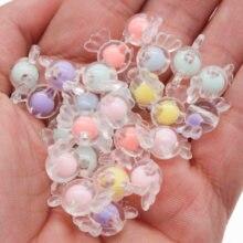 Chongai 50 pçs acrílico adorável doces grânulos arco-íris primavera cor contas para fazer jóias diy colar artesanato contas acessórios