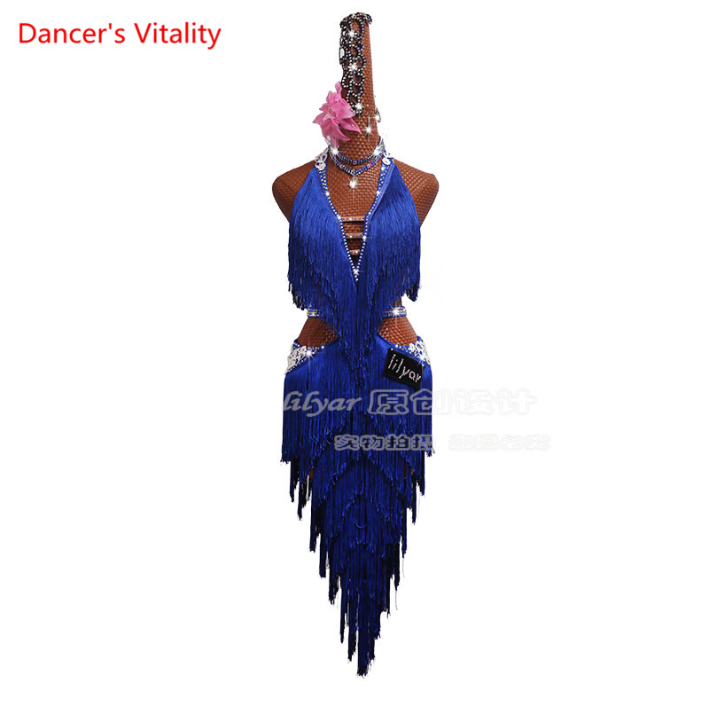 Women Girls Latin Dance Competition Performance Clothing Performance Dance Skirt Encouraged Treasure Blue Fringed Skirt