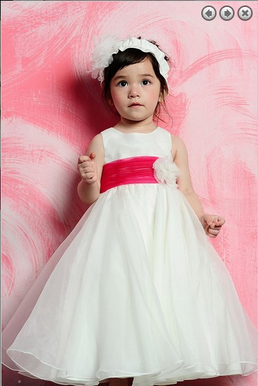free shipping new 2014 Wedding Party Dresses Girl's Pageant Gowns red saahes Princess dresses white long Flower Girl Dresses