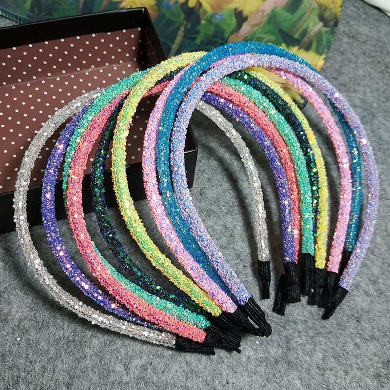 Free Shipping Women's Candy Color Sequins Hairbands Girl's Lovely Headbands Basic Summer Hair Accessories Blingbling Headwear