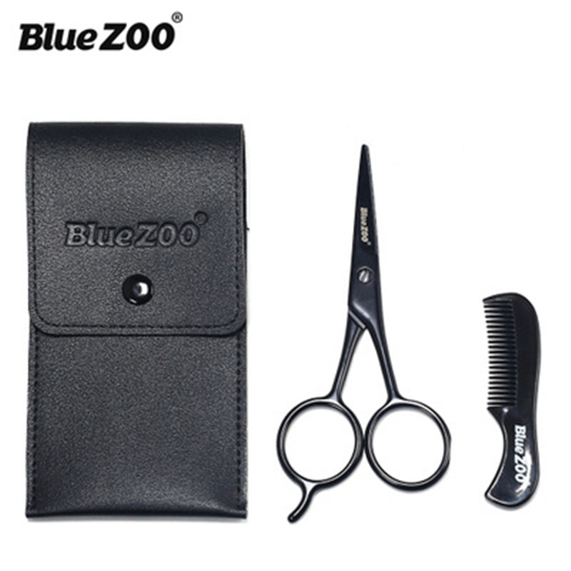 2Pieces -Kit Beard Moustache Scissor and Comb Set Kit for Man Care Stainless Steel Hair Scissors Trimming Scissors Safety Use