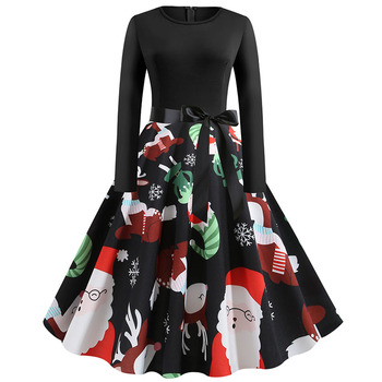 Plus Size S~5XL Print Long Sleeve Christmas dress Women Autumn Winter elegant casual vintage pin up party dresses Robe vestidos 5