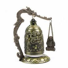 Brass Clock Wear Resistant Dragon Bell Portable High Strength Bronze Carved Decorative Gift Collectible Home Statue Lightweight(China)