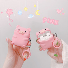 цена на 3D Pink Pig Cute Cartoon Silicone Earpods Case for Airpods 2 Wireless Earphone Protective Cover for Apple Airpods 1/2 with Strap