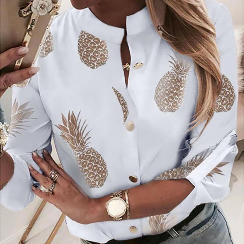 Fashion Women Long Sleeve Gold Pineapple Print Blouse V Neck Shirt Office Ladies Party Elegant Streetwear Femininas Plus Size